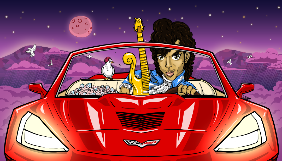 home artwork illustration little red corvette. Cars Review. Best American Auto & Cars Review